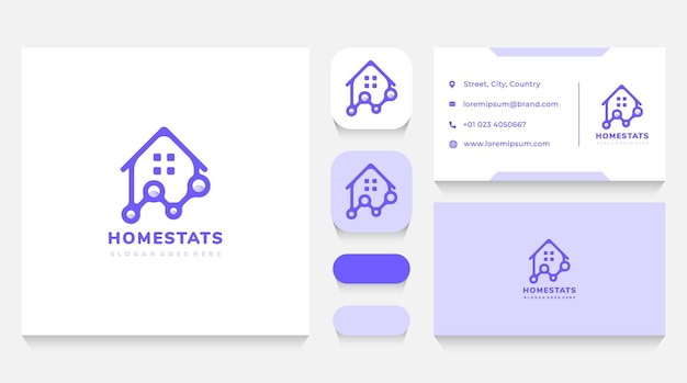 Plantilla y tarjeta de visita del logotipo de estadísticas de casas y bienes raíces