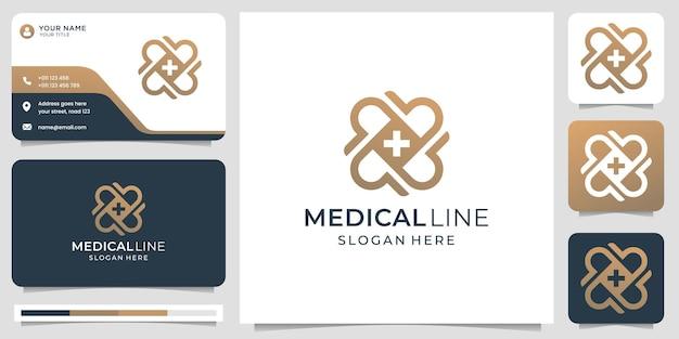 Plantilla de tarjeta de visita y logotipo de línea médica de monograma