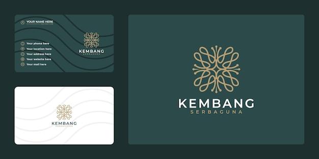 Plantilla de tarjeta de visita y logotipo de lujo de flor femenina dibujada a mano