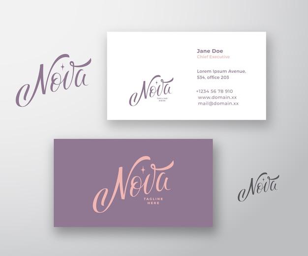 Plantilla de tarjeta de visita y logotipo de vector abstracto de inscripción de nova