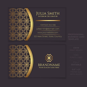 Plantilla de tarjeta de visita de lujo creativo