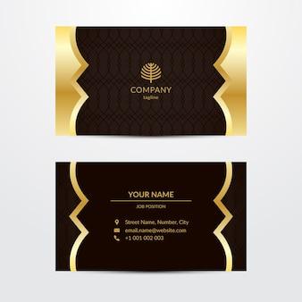 Plantilla de tarjeta de visita lujosa dorada