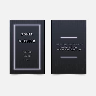 Plantilla de tarjeta de visita de luz de neón blanca minimalista