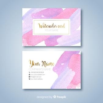 Plantilla de tarjeta de visita con manchas de acuarela