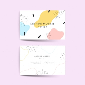 Plantilla de tarjeta de visita con manchas de color pastel