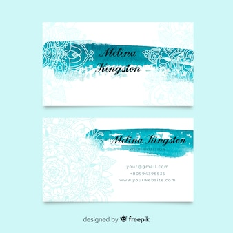 Plantilla de tarjeta de visita de mandala de acuarela