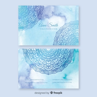 Plantilla de tarjeta de visita de mandala azul acuarela