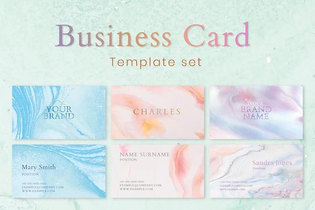 Plantilla de tarjeta de visita de mármol en un colorido conjunto de estilo femenino