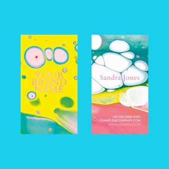 Plantilla de tarjeta de visita de mármol en estilo estético colorido