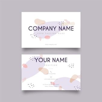 Plantilla de tarjeta de visita de memphis con manchas de color pastel