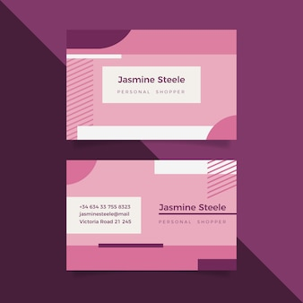 Plantilla de tarjeta de visita mínima rosa pastel