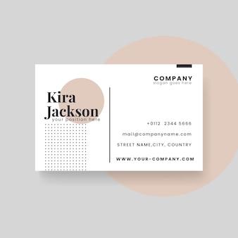 Plantilla de tarjeta de visita minimalista con círculo y puntos
