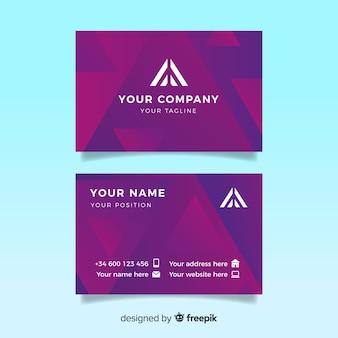 Plantilla de tarjeta de visita de modelos de gradiente de duotono