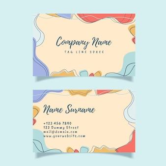 Plantilla de tarjeta de visita moderna abstracta con forma orgánica, diseño moderno de moda, estilo de memphis
