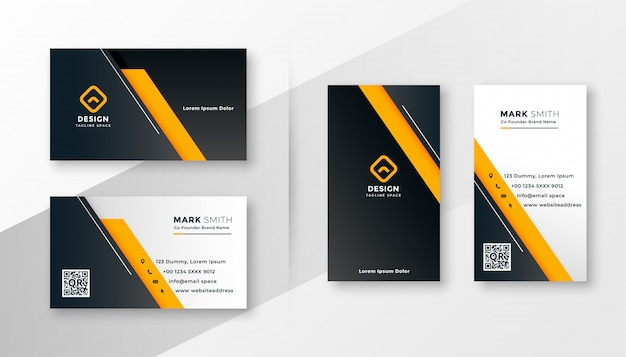 Plantilla de tarjeta de visita moderna geométrica amarilla