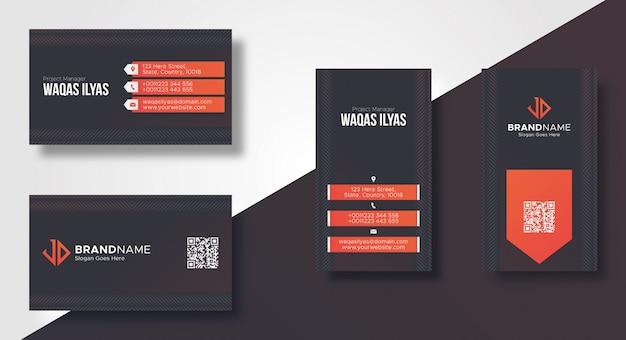 Plantilla de tarjeta de visita moderna oscura