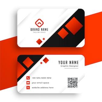Plantilla de tarjeta de visita moderna roja y blanca
