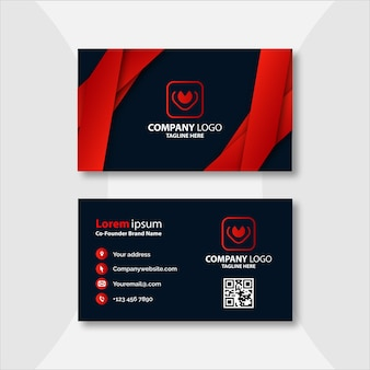 Plantilla de tarjeta de visita moderna roja y negra