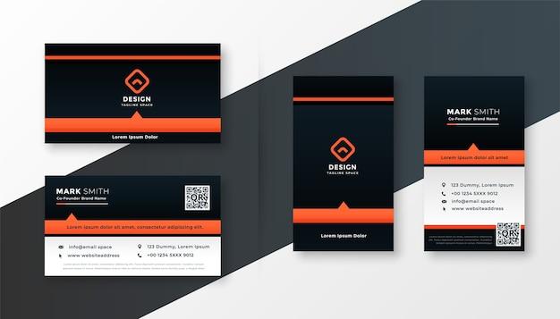 Plantilla de tarjeta de visita moderna con tema naranja profesional