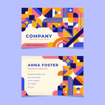 Plantilla de tarjeta de visita de mosaico plano