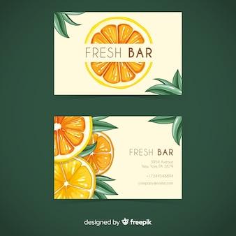 Plantilla de tarjeta de visita de naranjas en acuarela