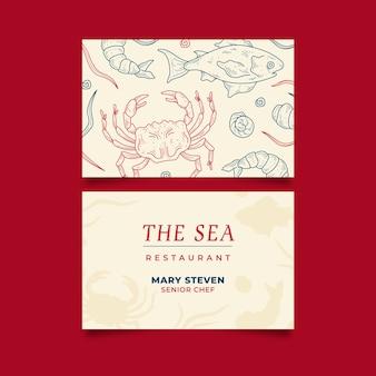 Plantilla de tarjeta de visita de negocios para el restaurante del mar