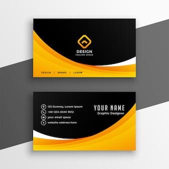 Plantilla de tarjeta de visita ondulada negra amarilla