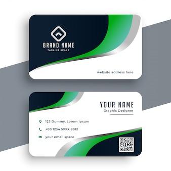 Plantilla de tarjeta de visita ondulada verde