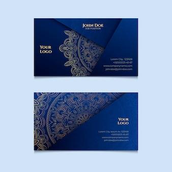 Plantilla de tarjeta de visita oriental con mandala