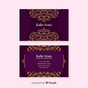 Plantilla de tarjeta de visita ornamental en diseño plano