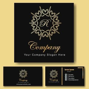 Plantilla de tarjeta de visita y ornamentales de logotipo de oro de lujo