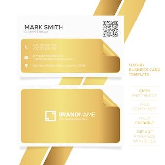 Plantilla de tarjeta de visita de oro de lujo