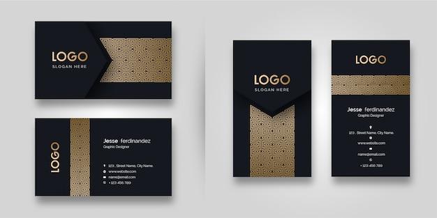 Plantilla de tarjeta de visita oscura de patrón de lujo