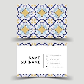 Plantilla de tarjeta de visita. con patrón abstracto.