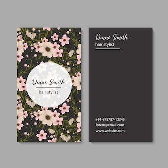 Plantilla de tarjeta de visita, patrón floral de fondo