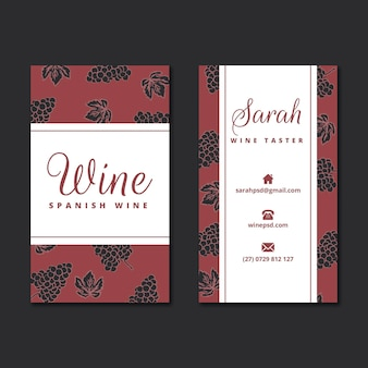 Plantilla de tarjeta de visita con patrón de vino