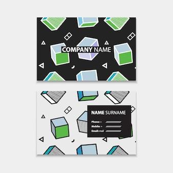Plantilla de tarjeta de visita con patrones sin fisuras con gráficos 3d en estilo pop art, plantilla horizontal, diseño en tamaño rectangular. ilustración