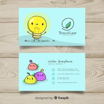 Plantilla de tarjeta de visita con personaje kawaii dibujado a mano