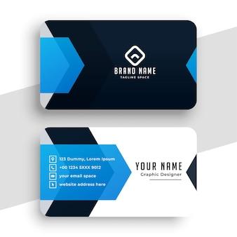 Plantilla de tarjeta de visita personal azul elegante