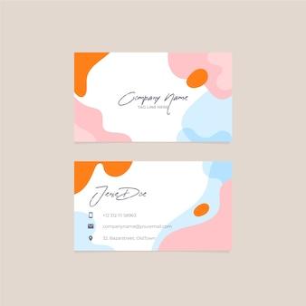 Plantilla de tarjeta de visita pintada abstracta colorida