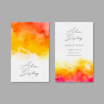 Plantilla de tarjeta de visita con pintura de acuarela