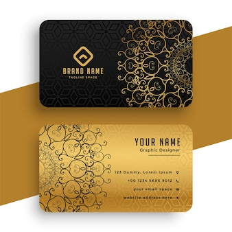 Plantilla de tarjeta de visita premium mandala dorada