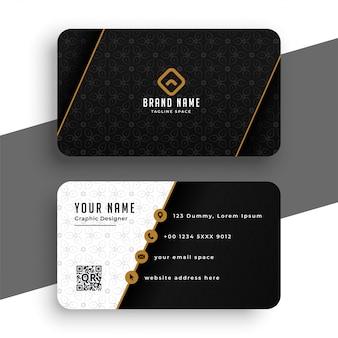 Plantilla de tarjeta de visita premium negra y dorada