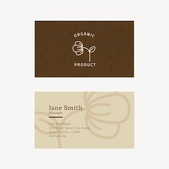 Plantilla de tarjeta de visita para producto orgánico.