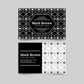 Plantilla de tarjeta de visita de puntos en blanco y negro
