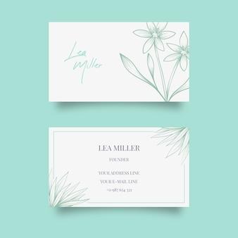 Plantilla de tarjeta de visita realista dibujada a mano