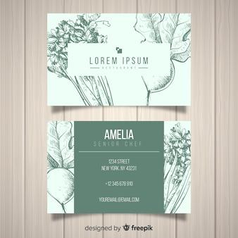 Plantilla de tarjeta de visita realista de restaurante dibujada a mano