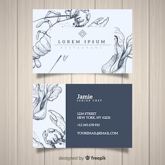 Plantilla de tarjeta de visita realista de restaurante dibujado a mano