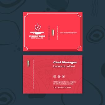 Plantilla de tarjeta de visita para restaurante de comida italiana