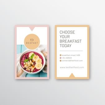 Plantilla de tarjeta de visita de restaurante de desayuno